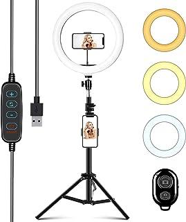"""Aro de Luz con Trípode 10"""", ITSHINY LED Anillo de Luz 3 Colores 11 Brillos Regulables, Wireless Control Remoto y Alimentad..."""