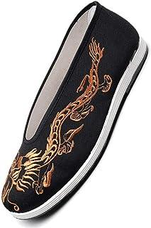 JINFAN Kung Fu Martial Arts Tai Chi Shoes for Women men Shaolin Qi Gong Wing Chun Shoes,Gold-45