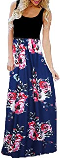 Casual Women's Dress Long- Sleeveless O-Neck Print Maxi Tank Long Dress