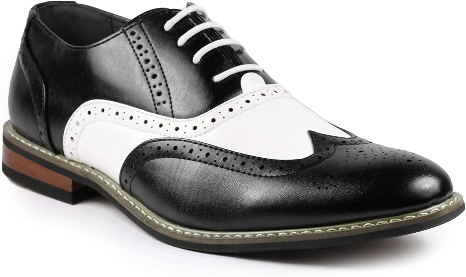 Metrocharm ALEX-08 Men's Two Tone Spectator Wing-tip Perforated Lace Up Oxford Dress Shoe