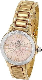 CROMWELL - Reloj oro bicolor 18k Cromwell mujer brillo esfera nacarada rosa calendario bisel logo