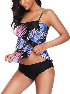 Kehen Women Vintage Floral Two Piece Tankini Swimsuit Tummy Cover Swimwear Push Up Bathing Suit