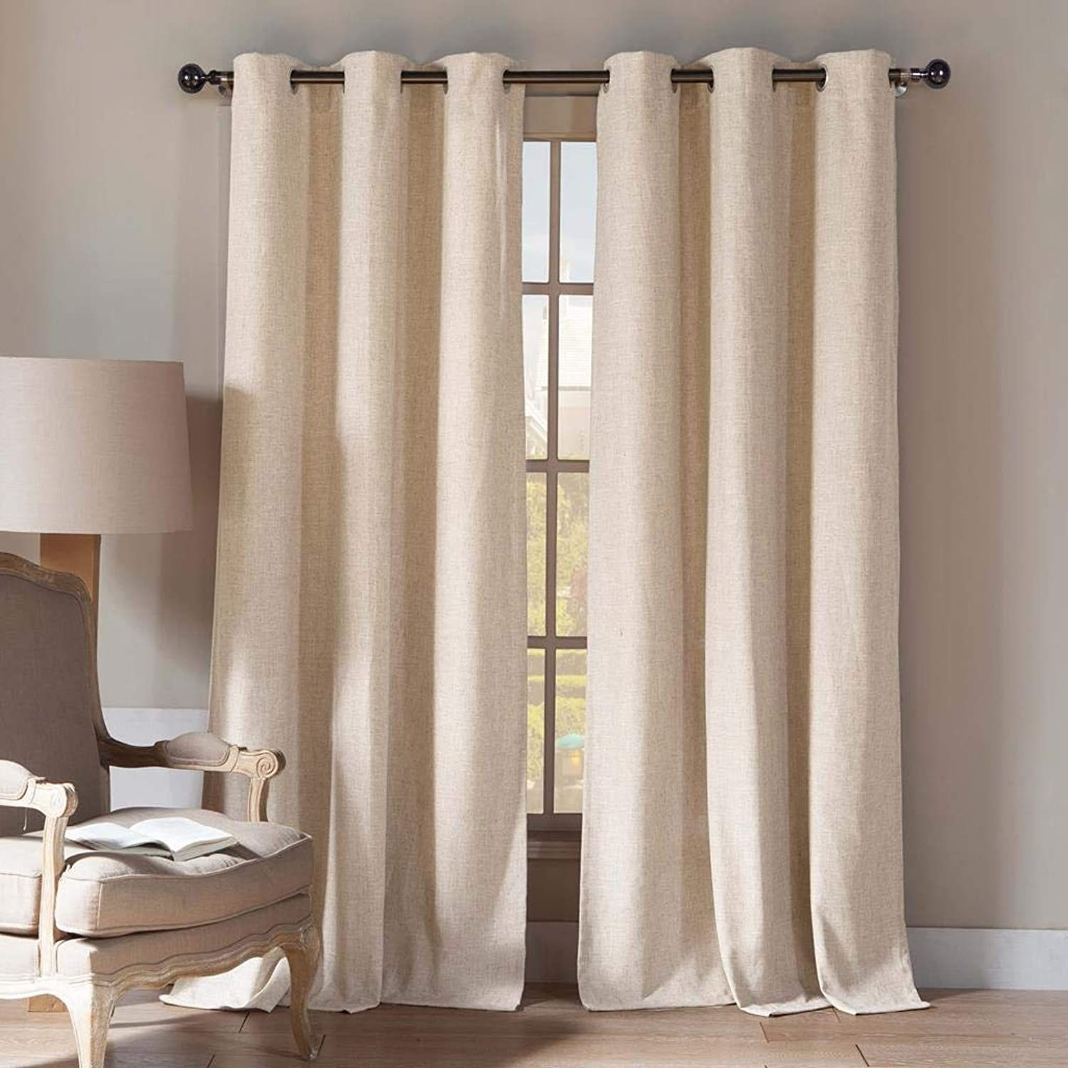 Home Maison - Home Fashion Natural Linen Blend Textured Grommet Top Window Curtains for Living Room & Bedroom - Assorted colors - Set of 2 Panels (54 X 84 Inch - Linen)