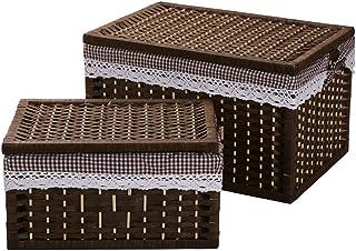 Panier de Rangement Taoshi Panier Conteneur Conteneur Papier Rope Storage Panier rectangulaire avec Couvercle Boîtiers de ...