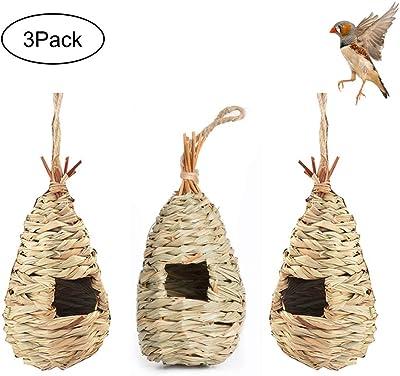zoye 3 Pack Hummingbird Birdhouse for Outside Hanging,Bird House Bird Nest Hand Grass Bird HutFiber Hand-Woven Roosting Pocket for Sparrow Wicker Finch Chickadee Canary