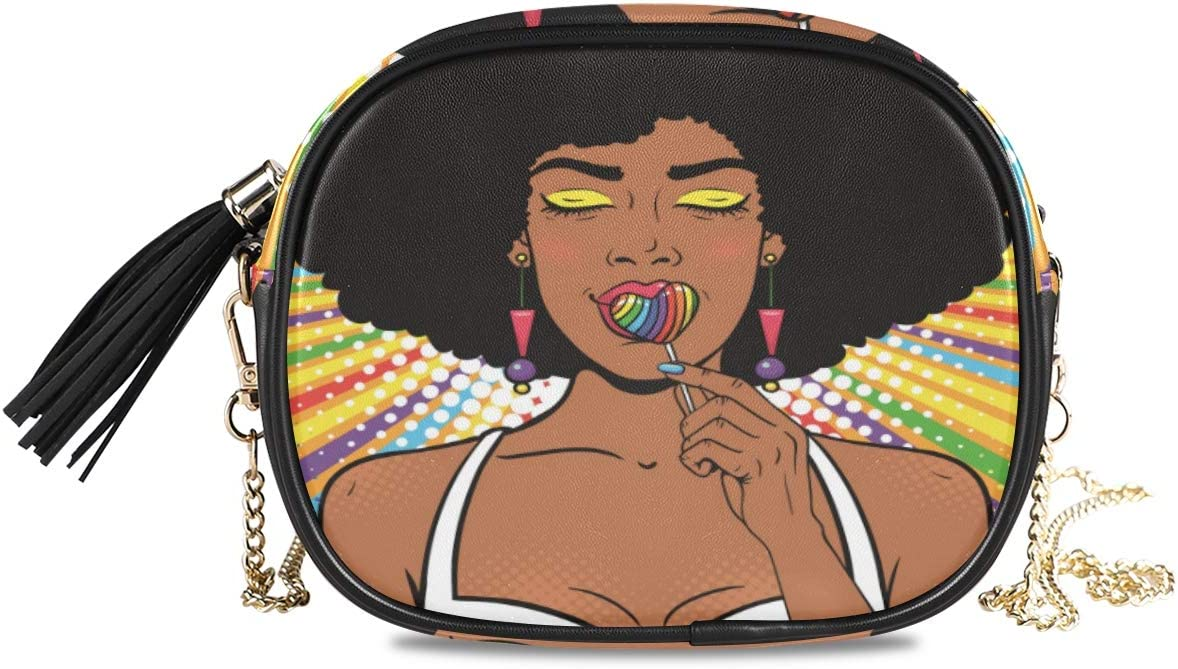 ALAZA African Woman with Afro Hair Cross Body Fashion Chain Bag Single Shoulder PU Leather Purse for Women Girls
