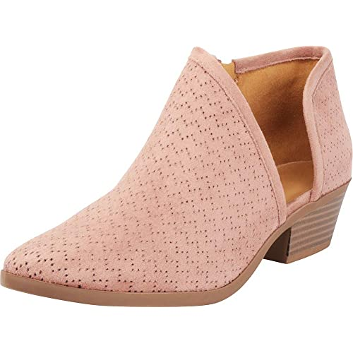 941602c80 Cambridge Select Women s Perforated Side Cutout Chunky Stacked Heel Shootie Ankle  Bootie