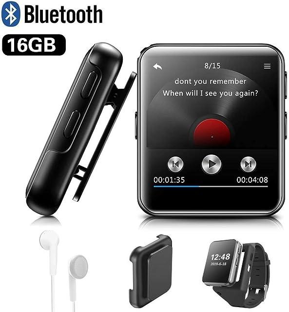 MP3 BENJIE 16GB MP3 Bluetooth 1.5 Reproductor de MP3 Pantalla Táctil Completa HiFi Sin Pérdida de Sonido MP3 Running FM Radio Grabadora de Voz con Auriculares para Amantes del Deporte y la Música