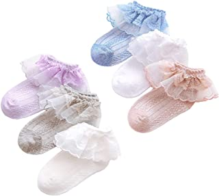 Baby Girl Cotton Pointelle Ruffled Lace Ankle Socks Cartoon Strips Low Cut Socks For Infant & Toddler & Kid