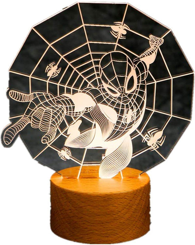 Avengers Spiderman 3D Nachtlichter LED ndern 3D Neuheit Lichter Kreative Tischlampe USB Wiederaufladbare Lampe,Spiderman