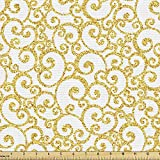 Ambesonne Victorian Fabric by The Yard, Floral Ivy Swirls in Golden Yellow Shade Antique Motif Inspired Art Print, Decorative Fabric for Upholstery and Home Accents, 3 Yards, Yellow White