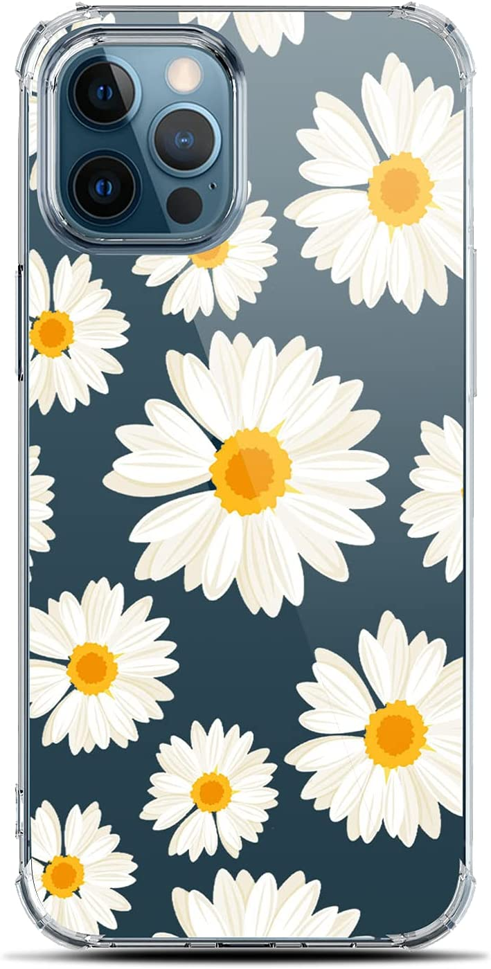 LANYOS Compatible with iPhone 13 Pro (6.1 inch) Case, Ultra-Thin Floral Clear Phone Case Flower Shockproof Protective TPU Bumper Cover for Women and Girls (Daisies)