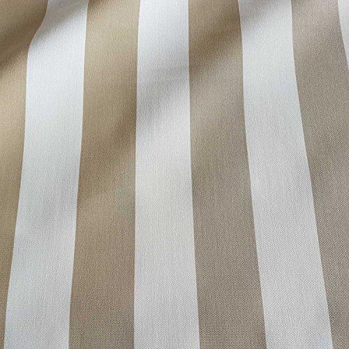 Stoff Meterware Markisenstoff Blockstreifen beige weiß gestreift UV beständig Sichtschutz