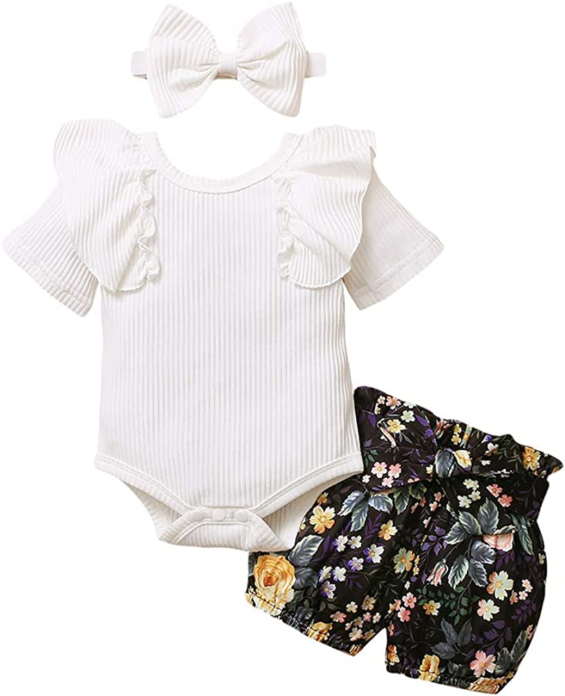 Baby Girls Daddys Girl Mommys World Shirt Sunflower Pants Headband 3PC Outfits