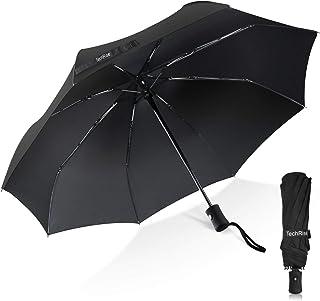 Paraguas Plegable, TechRise Paraguas Plegable Automático Impermeable de Viaje Compacto Resistencia Contra Viento para Viaje para Hombres y Mujeres ( nero)