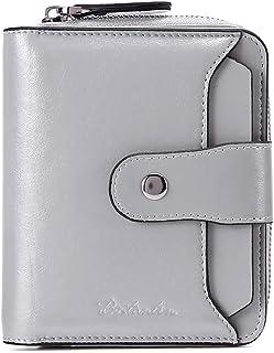 BOSTANTEN Leather Wallets for Women RFID Blocking Zipper Pocket Small Bifold Wallet Card Case Grey