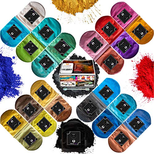 Mica Powder - Epoxy Resin dye Color Pigment Powder Set - 25 Colours 2 Tone Metallic Pearl for Lip Gloss, Acrylic Paint, Nails, Slime Colorant, Epoxy Pigment, Bath Bomb & Soap Making, Polymer Clay