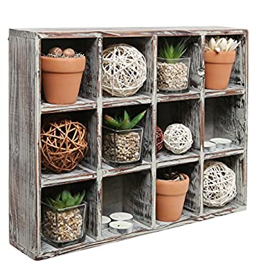 MyGift Freestanding Dark Brown Wood Shelf Rack/Wall Mounted 12 Compartment Shadow Box/Display Shelving Unit