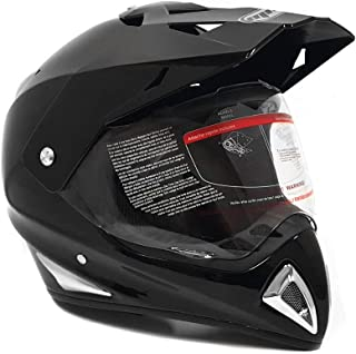 MMG 27V Helmet Dual Sport Off Road Motorcycle Dirt Bike ATV - Flip Up Visor - Shiny Black, Large