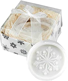 Lote de 50 Unidades Jabón perfumado Copo de Nieve, en Caja cartón con Lazo Organza. Regalo Empresa, Navidad, Detalles navideños