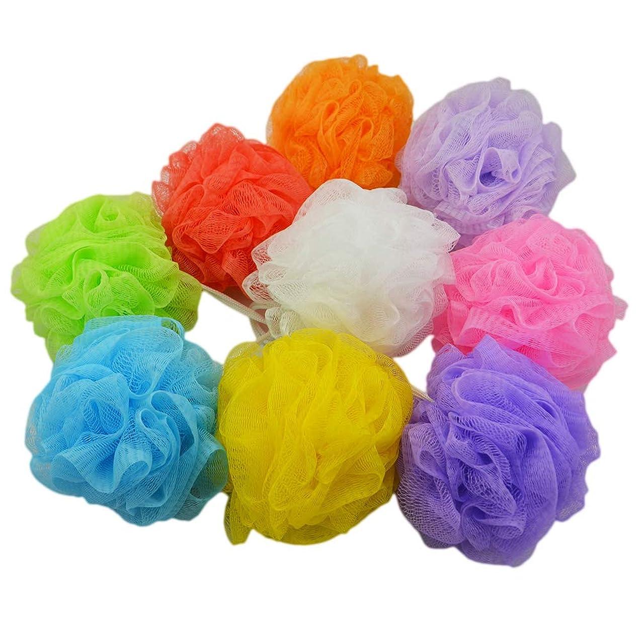 解き明かす振り返るまともなLurrose 8個シャワーボールシャワーパフ風呂用スポンジシャワー用スポンジメッシュスポンジばら吊りロープ付き(混色)