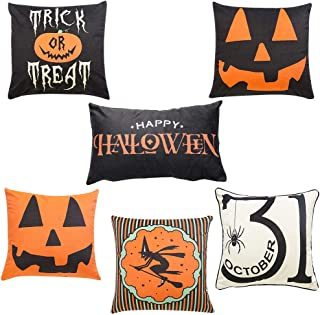 Halloween Cotton Linen Pillow Covers - 6 set of Trick or Treat Pumpkin Smiley Face Printed for Home Party Decoration Supplies 18x18 Inch Cushion Case for Couch, Terrace, Home Décor, Room, Car Sofa