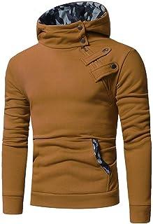 WUFAN Men's Slim with Pocket Oblique Zipper Hooded Pullover Sweatshirt