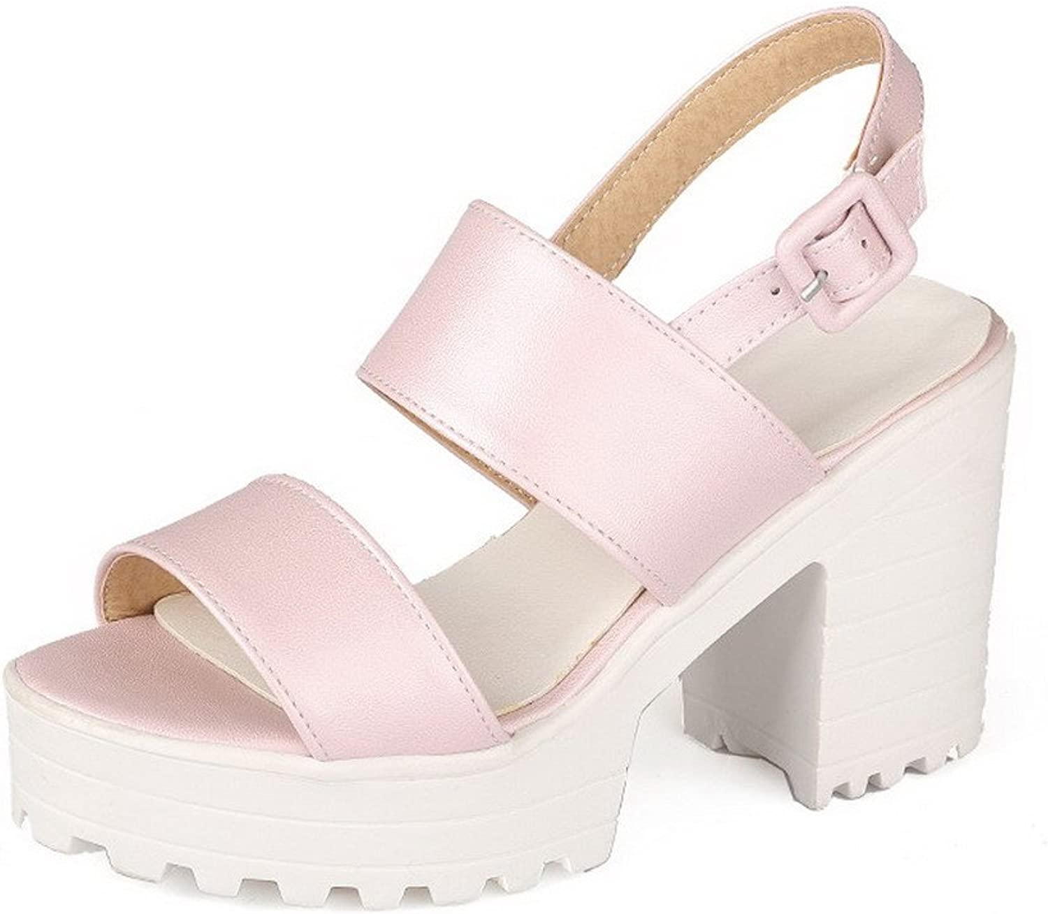 WeenFashion Women's Open Toe High-Heels Soft Material Solid Buckle Platforms-Sandals
