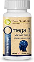 Pure Nutrition Omega 3 Double Strength Fish Oil - 1000mg   Each Capsule Contains 360 mg EPA + 240 mg DHA   Marine Fish Oil   Salmon Fish Oil   1 Caps Daily - 75 Days Supply