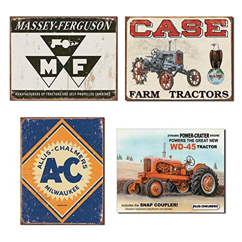 DE Sign Farm Traktor Blechschild Bundle–Massey Ferguson Logo, Fall Traktor CC hoch, Allis Chalmers Logo und Allis Chalmers WD45