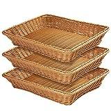 Extra Large Poly-Wicker Bread Basket,Woven Tabletop Food Fruit Vegetables Serving Basket, Restaurant Serving,15.7