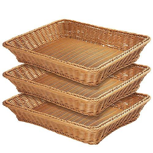 """17.7"""" Poly-Wicker Bread Basket,Woven Tabletop Food Fruit Vegetables Serving Basket, Restaurant Serving,Brown (3 PACKS)"""
