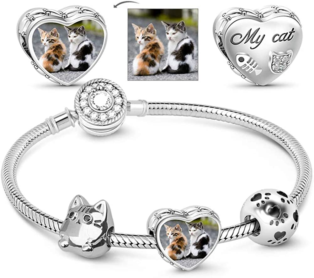 Arlington Mall GNOCE Meow Cat Photo Charm Bracelet Sterling 925 Max 84% OFF Ch Snake Silver