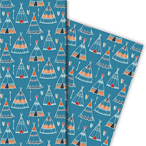 Kartenkaufrausch Abenteurer Geschenkpapier Set mit Indianer Zelten/Tipis als edle Geschenk Verpackung, Designpapier, scrapbooking, 4 Bogen, 32 x 48cm, auf blau