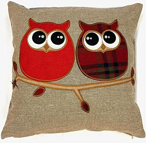 Cushion Cover Highland Red Navy and Green Tartan Classic Check Plaid Brushed Wool Feel and Owl Design Cover 18' x 18' (45 cm x 45 cm) (Owl, 2)