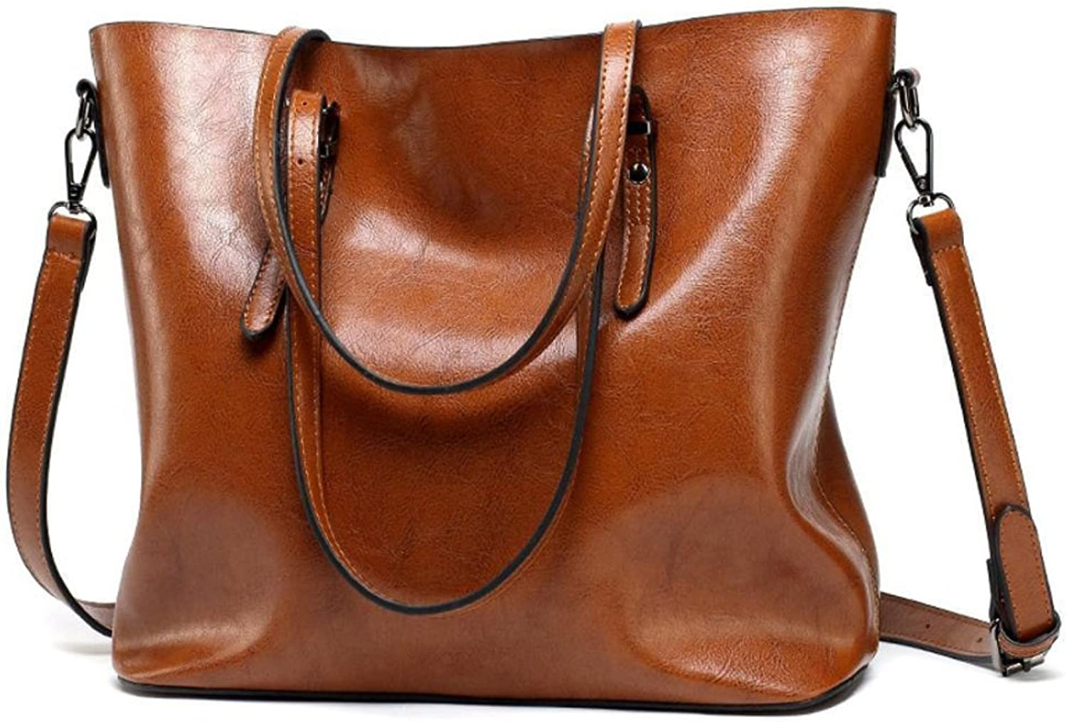 YKXIAOYU Handbags for Women European and American Fashion New Women's Bag Retro Oil Leather Bag New Simple PU Fabric Brown