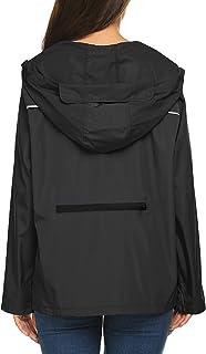 Women's Short Lightweight Packable Raincoat with Back...