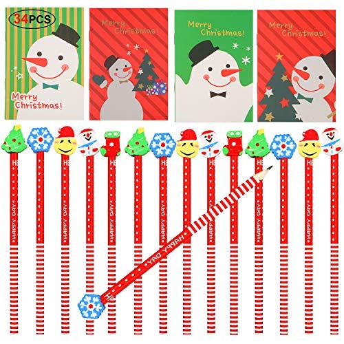 HOWAF 34pcs Mini Bloc de Notas de Navidad y Navidad lápiz de Madera con Borrador para Niños Regalos para Navidad Fiestas Cumpleaños Infantiles Relleno piñatas Premios Escolares