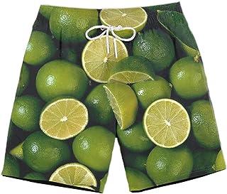XIELH Shorts Summer 3D Printed Beach Pants Home Plus Size Loose Pants 3D Lemon Print Beach Shorts