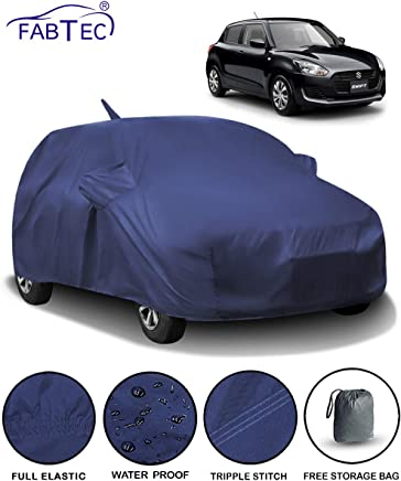 Fabtec Waterproof Car Body Cover for Maruti Swift (2018-2019) with Mirror & Antenna Pocket & Storage Bag (Full Sized, Triple Stitched, Fully Elastic)
