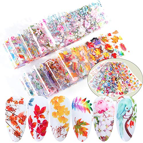 10 Sheets Nail Art Foil Transfer Stickers Spring Color Flower Leaves Charm Art Design Nail Foil Adhesive Decals Starry Sky Decoration Manicure Transfer Tips DIY Supplies for Women Girl and Kids