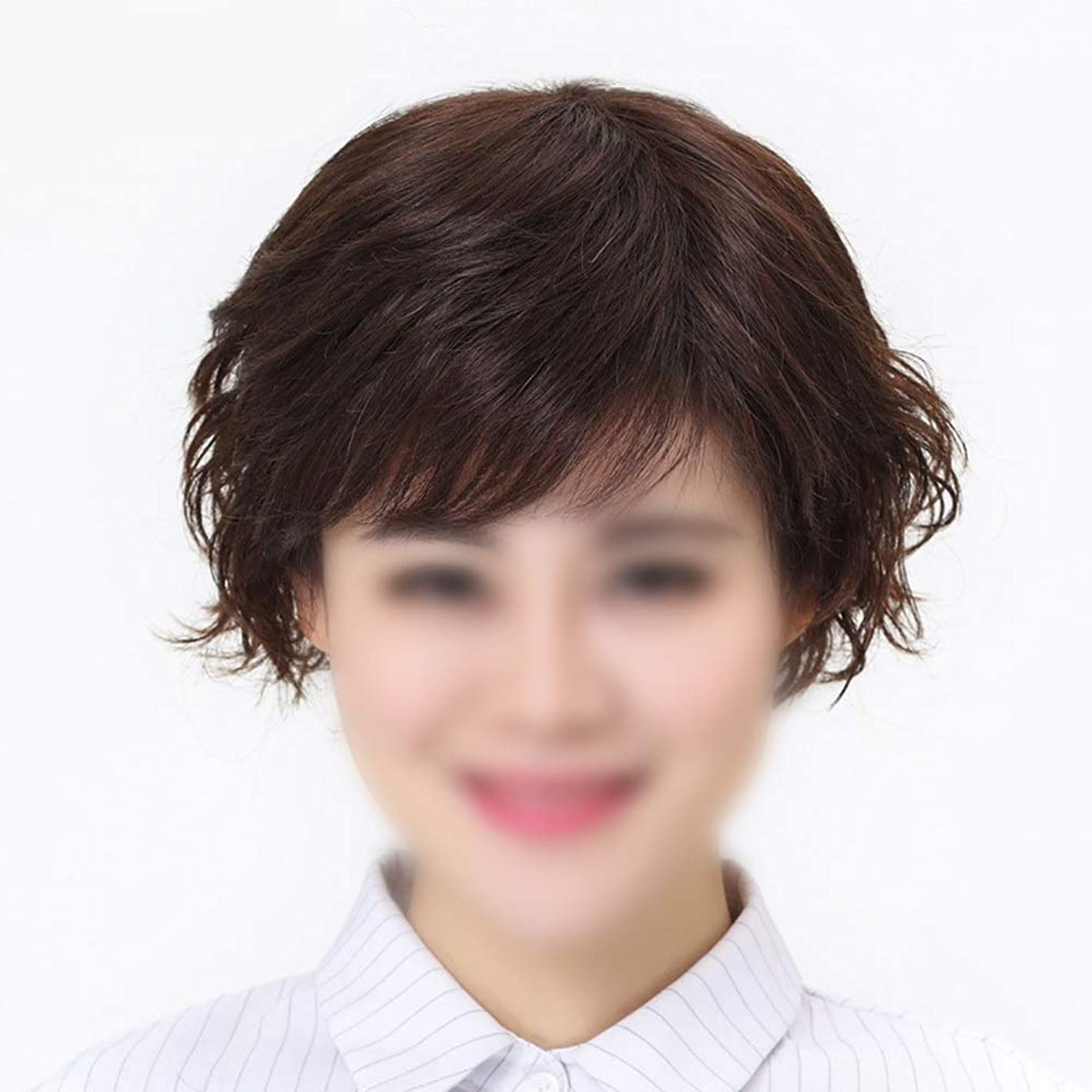 アルカトラズ島効果的浮くYrattary 本物のバージンの人間の毛髪の前髪付き人間の髪の毛の有名人のかつら女性のファッションかつらの短いスタイリッシュなかつら (Color : Dark brown, サイズ : Hand-woven heart)