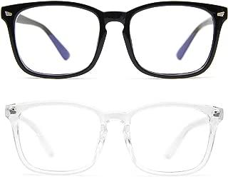 Blue Light Blocking Glasses 2 Pack Anti Eye Strain Minimize Headache UV Blocking Computer Reading Gaming Eyeglasses, Men/Women (Black&Transparent)