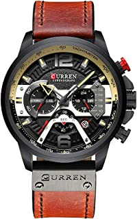 KKmoon CURREN 8329 Quartz Watch Business Men Simple Sport Wristwatch Three Sub-Dials Calendar Second Minute 24 Hour Display 3ATM Waterproof Fashion Casual Male Watches