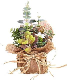 BIGBOBA Lavanda Plantas Artificiales-Maceta de Tejido de lino flores Artificiales Decorativas de Hogar Oficina Mesa de Cen...