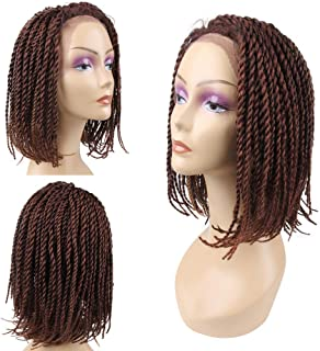 HAIR WAY Lace Front Braided Wigs Bob Style for Black Women Glueless Senegalese Twist Braided Lace Bob Wigs with Baby Hair for Daily Wear Half Hand Tied 16inches #27/30