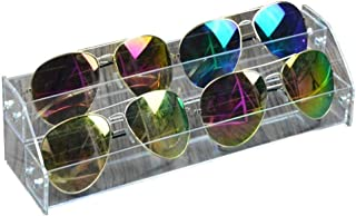 Fdit Acrylic Sunglasses Organizer Multilayer Display Case Tabletop Eyeglass Storage Box Durable Eye Glasses Storage Stand (Two Layers)