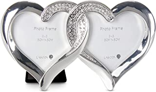 LASODY Elegant Silver Plated Heart Shaped Photo Frame Holds Two Heart Frames Wedding Gifts Valentine's Day Gifts