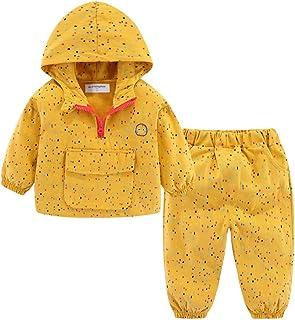 مجموعة Mud Kingdom للأولاد الصغار أزياء هوديس السراويل لطيف ملون المطر الأصفر 5T