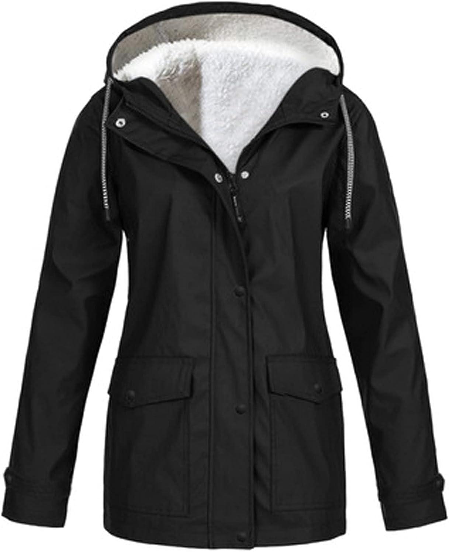 Winter Coats for Women, Fall Solid Rain Jacket Outdoor Plus Waterproof Hooded Raincoat Windproof Trench Coat